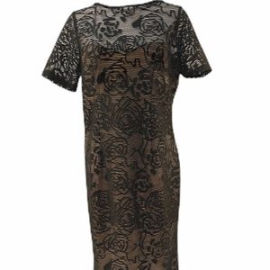 NWT Adrianna Papell Black Lace Lined Dress.
